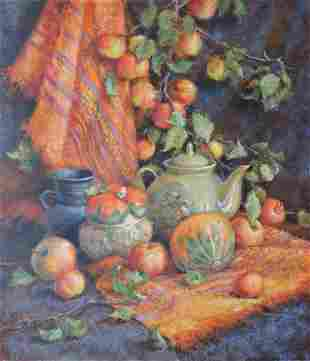 Oil painting Near the apple tree