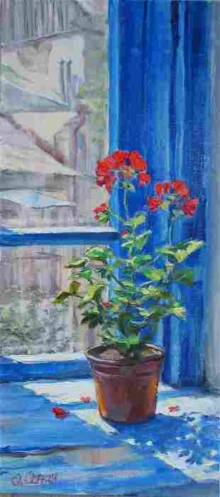 Oil painting Blue window Procach Olesia