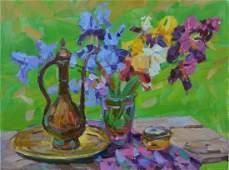 Oil painting Cumgan and phlox Tepeta Miacheslav