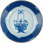 Chinese Kangxi Plate Basket Design Blue and White