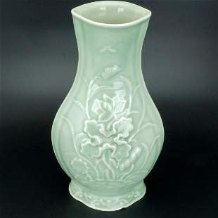 Chinese Early 20th C Celadon Molded Vase with Lotus