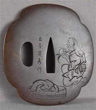 19c bronze Japanese sword TSUBA woman, marsh by