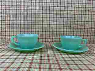 "(2) sets Fire King ""Alice"" Teacup Saucers"