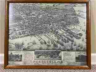 Framed Picture of Pensacola Florida Navy Yards 1885