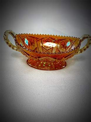 Amber Carnival Glass Bowl with Handles. Gorgeous