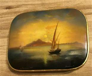 2000 Russian Hand Painted Box With Sailing Scene Artist