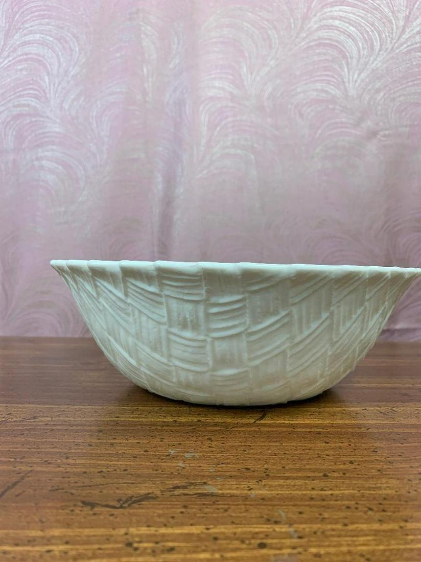 White Glass Basket Weave Pattern Serving Bowl