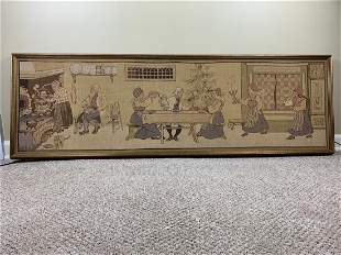 Framed Antique Tapestry of a Holiday Supper gathering