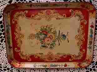 Hand-painted papier mache tray Circa 1930's & 1940's.