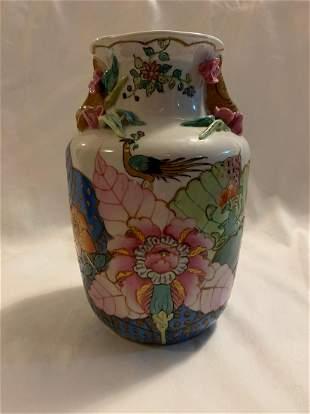 Vintage Chinese Porcelain Vase Hand Painted - White