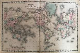 1861 World map with USA centric view point. By Johnson