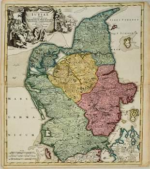 1716 Homann Map of the Danish Jutland Peninsula --