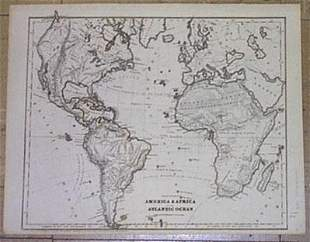 Political Map of America and Africa and the Atlantic