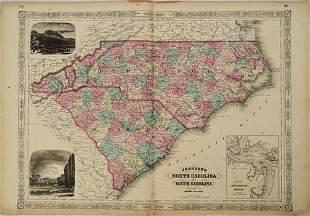 1865 Johnson Map of North and South Carolina --