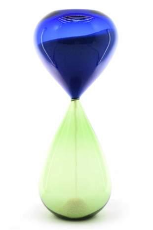 Murano glass bicolour hourglass signed