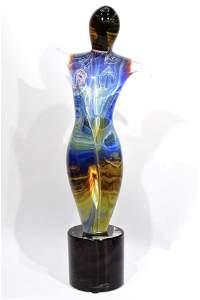 "Top Murano glass Calcedonio Sculpture "" Dancer "" signed"