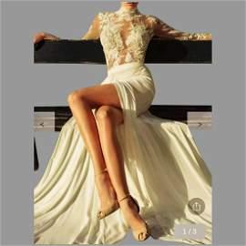 Vtg Crochet Carving Embroidery Long sleeve Maxi dress