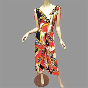 Vtg 1970's wide leg printed Jumpsuit silk jersey blend