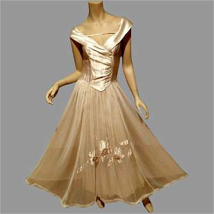 Ball Room Circa-1945 Beautime Formal Organza crepe Gown