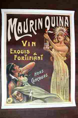 "Maurin Quina - Art by G. Smith (1900) 45"" x 60"" French"