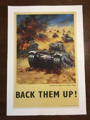 "Back Them Up! - Tanks (1942) 19.875"" x 30.125"" US WWII"