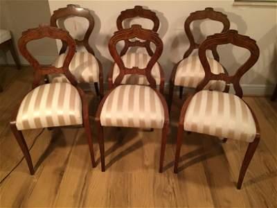 6 Pcs Biedermeir 1820 elegant dining chairs