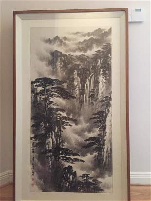 Large Chinese Landscape painting   Signed and framed