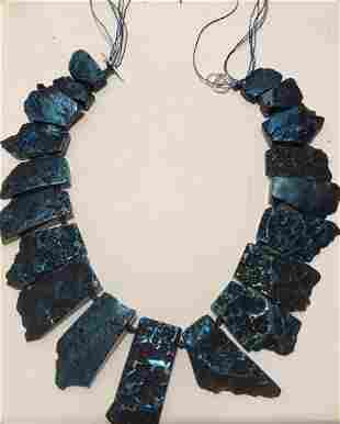 Peacock blue stone necklace