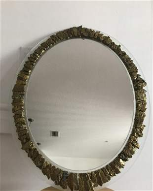 Gold stone oval mirror