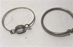 Pair of vintage silver bracelets   Amethyst