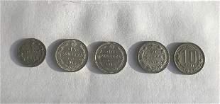 5 pcs Russian silver coins 5 kop and 10 kop