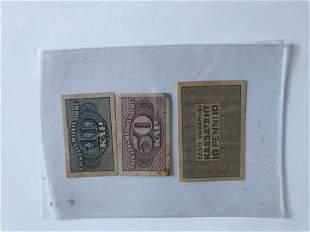 3 pcs Latvia 20th C paper money
