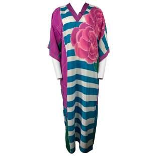 Oscar de la Renta Silk Multi Color Tunica Maxi Dress