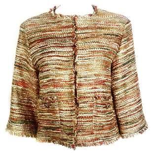 Vintage CHANEL Tweed Metallic Gold Multi Color Jacket