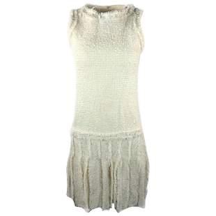 CHANEL White Tweed Fringe Sleeveless Dress Size 36