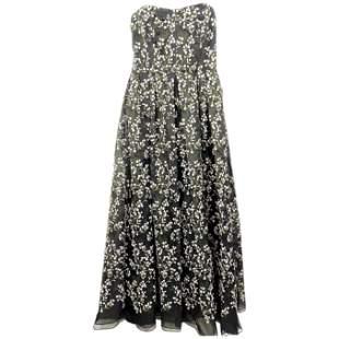 Erdem Black Silk and Floral Pattern Evening Dress Size