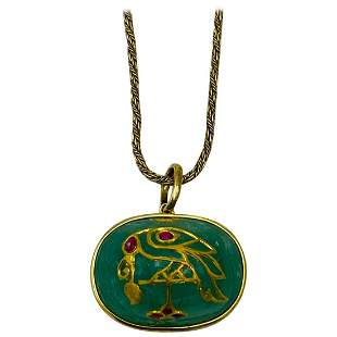 1930's Yellow Gold, Carved Emerald and Ruby Pendant