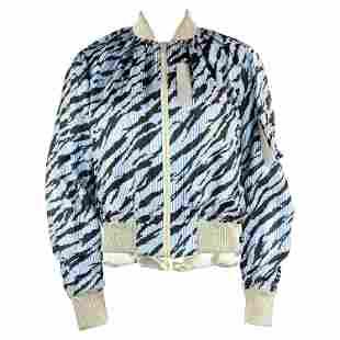 Sacai Luck Light Blue Zebra Striped Bomber Jacket Size