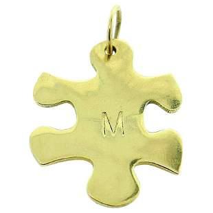 Jennifer Fisher 18k Yellow Gold M Initial Puzzle Piece