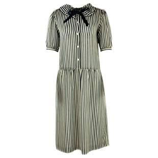 HANAE MORI Navy and White Striped Short Sleeve Midi