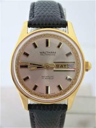 Vintage 18 GP WALTHAM Incabloc DAY DATE Automatic Watch