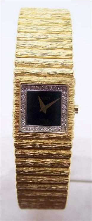 New 18k Gold JUVENIA Ladies watch w/Black Onyx Dial