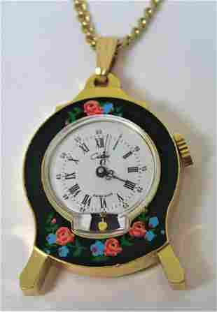 Gold Plated CHATEAU Ladies Pendant Winding Watch with
