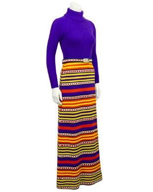 Anonymous  Purple & multi colour knit maxi dress