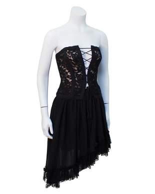 Yves Saint Laurent Black lace corset & chiffon skirt