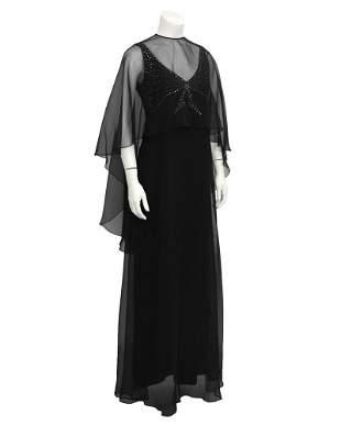 Leo Narducci Black Chiffon Gown with Shawl