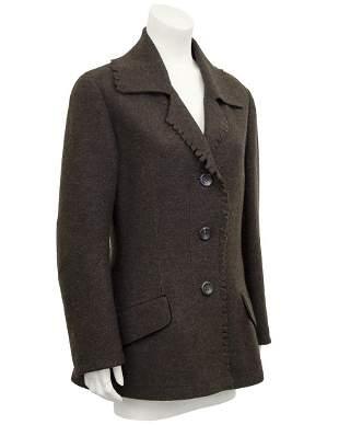 Issey Miyake Brown Felted Wool Peacoat
