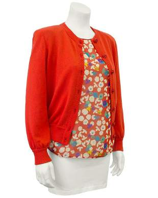 Valentino Red Floral Silk Sweater & Blouse Set