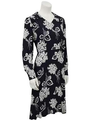 Anonymous Black and Cream Floral Rayon Dress