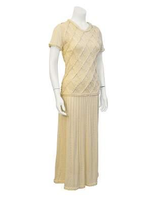 Laura Biagiotti Cream Knit Dress